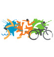 three triathlon racers vector image vector image