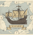 travel banner with sailing ship and old map vector image vector image