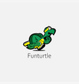 turtle on grey background vector image