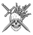 vintage prince skull in crown with knight sword vector image