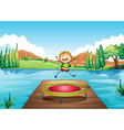 A boy playing with the trampoline at the river vector image vector image