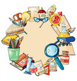 a set of hand drawn stationery in a circle vector image vector image