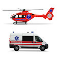 ambulance helicopter and ambulance car air and vector image vector image