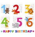 birthday greeting cards set with animals vector image