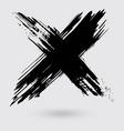 black ink cross stroke on white background vector image vector image