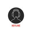 black round hotline icon vector image vector image