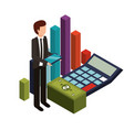 businessman with calculator math and icons vector image vector image