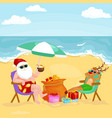 cartoon friends drinking cocktails on summer beach vector image