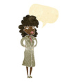 cartoon woman in trench coat with speech bubble vector image vector image