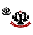 Chess emblem with pawns on chessboard background vector image