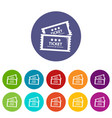 cinema ticket icons set color vector image