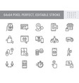 click and collect service line icons vector image vector image