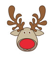 colorful cartoon funny face reindeer animal vector image vector image
