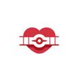 creative retro aircraft heart symbol logo vector image