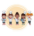 cute chef kids cartoons vector image