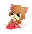 cute kitten draws vector image vector image