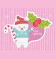 cute polar bear candy cane holly berry merry vector image