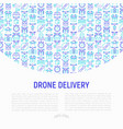 drone delivery concept with thin line icons vector image vector image