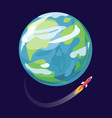 earth and spaceship poster vector image vector image