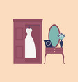 elegant white wedding dress or gown hanging in vector image vector image