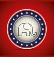elephant inside button of vote concept vector image vector image
