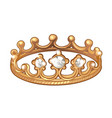 exclusive ring in the shape of a royal crown made vector image vector image
