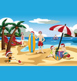 family celebrating christmas on the beach vector image vector image