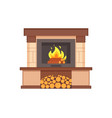 fireplace with burning logs wooden fuel inside vector image