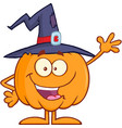 funny witch pumpkin cartoon character waving vector image