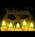 halloween pumpkin and candles vector image vector image