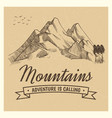 hand drawing high mountain peak vector image vector image