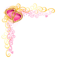 heart of love valentines day corner vector image vector image