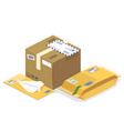 isometric postal parcels mails vector image vector image