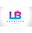 lb l b letter logo with shattered broken blue vector image vector image