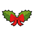 leafs with bow christmas decoration icon vector image vector image