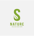 letter s leaf logo icon template vector image