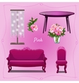 Luxury furniture and floral decorations vector image