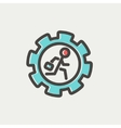 Man running inside the gear thin line icon vector image vector image