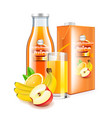 multivitamin juice in glass bottle and packaging vector image vector image