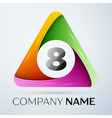 Number eight logo symbol in the colorful triangle vector image vector image