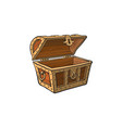 opened empty wooden treasure chest vector image vector image