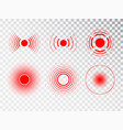pain red circle or localization mark aching place vector image vector image