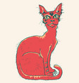 red cat hand drawn color isolated vector image
