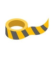 Roll of yellow barrier tape icon vector image