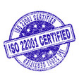 scratched textured iso 22001 certified stamp seal vector image