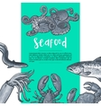 Seafood hand drawn sketch style vintage banner vector image vector image
