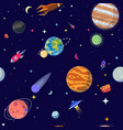 seamless pattern planets in open space vector image