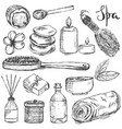 set hand drawn spa and beauty related products vector image