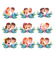 set portraits bride and groom standing vector image vector image
