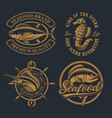 set vintage for seafood theme vector image vector image